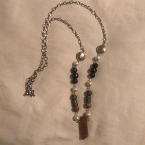 Jewelry - Boho style beaded necklace (brown/silver)